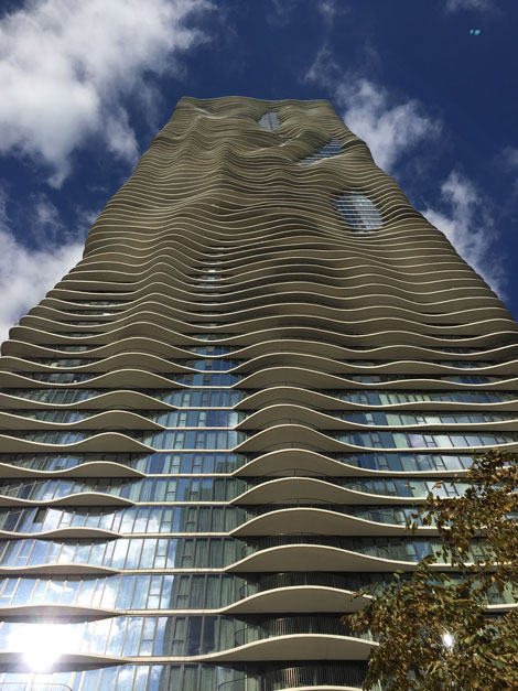 The contours of Aqua's balconies are apparent from its podium.