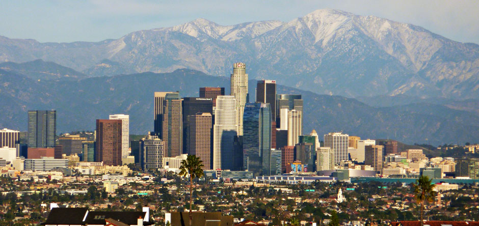 Downtown Los Angeles with the San Gabriel Mountains in the distance.