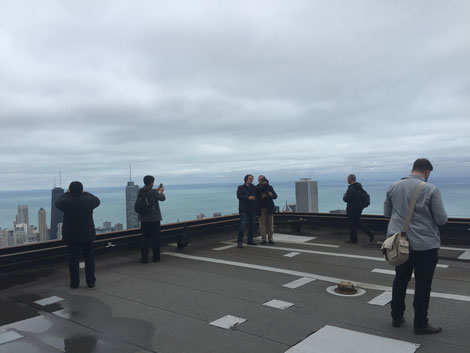 Attendees enjoy the picturesque view from the Willis Tower.