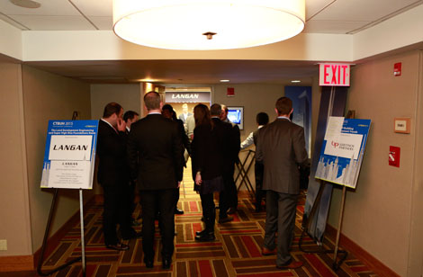 Delegates enter the Land Development Engineering and Super High-Rise Foundations Room, hosted by Langan.