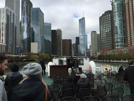The view down the main branch of the Chicago River with the Trump Tower taking center stage.