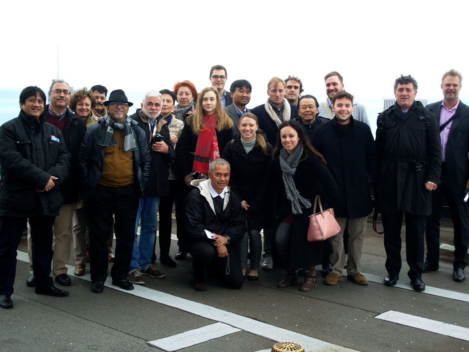A group photo from the roof of the Willis Tower.