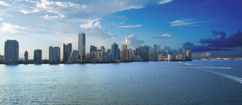 Miami skyline from the bridge to Miami Beach.