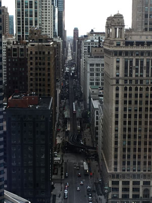 The view down Wabash Avenue from a Trump Tower suite.